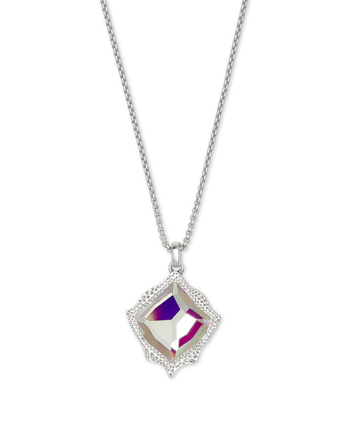 Kacey Long Pendant Necklace in Dichroic Glass