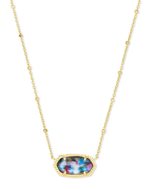 Elisa Satellite Necklace in Gold Teal Tie Dye Illusion