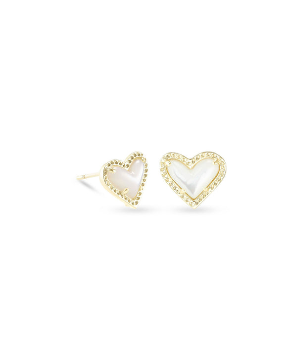 Ari Heart Gold Stud Earring in Ivory MOP