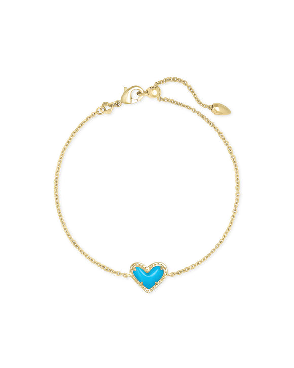 Ari Heart Bracelet in Gold Turquoise