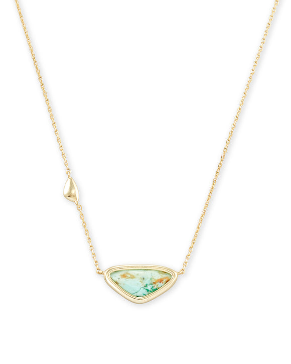 Margot Short Pendant Necklace in Gold Sea Green Chrysocolla