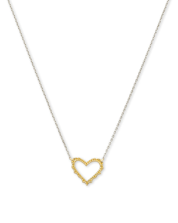 Sophee Heart Small Pendant Necklace In Mixed Metal