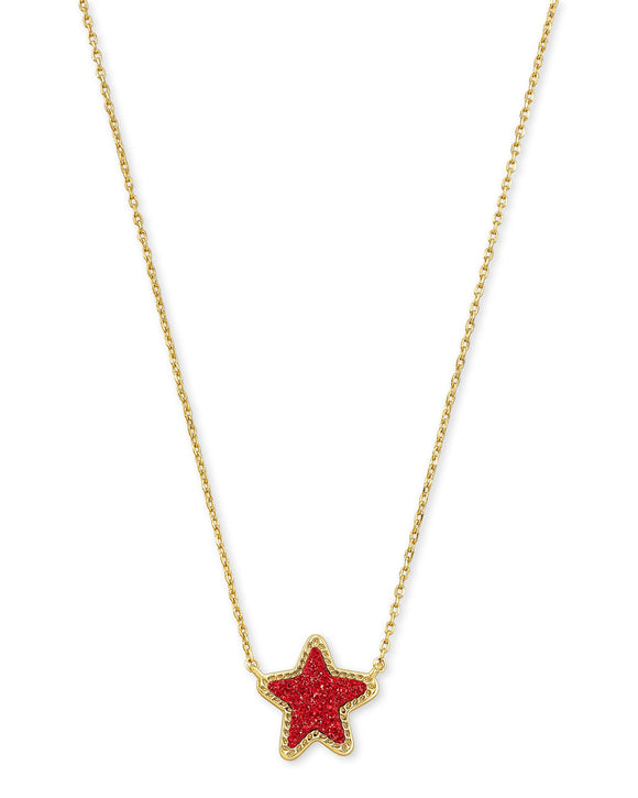 Jae Star Short Pendant Necklace in Gold Bright Red Drusy