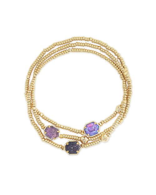Tomon Bracelet Set in Gold Purple Mix