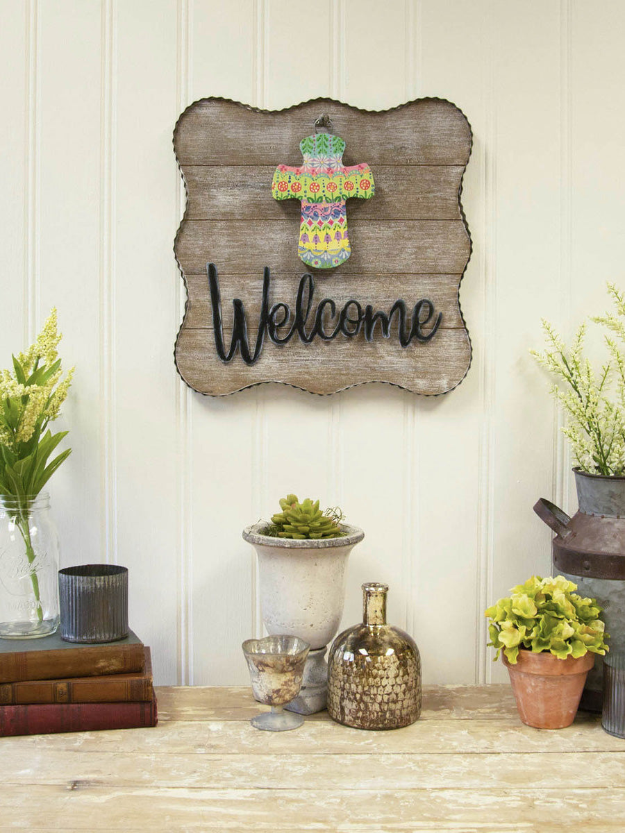 Welcome Metal/Wood Sign