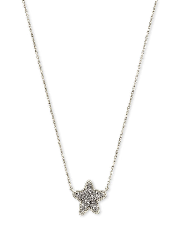 Jae Star Short Pendant Necklace in Rhodium Platinum Drusy