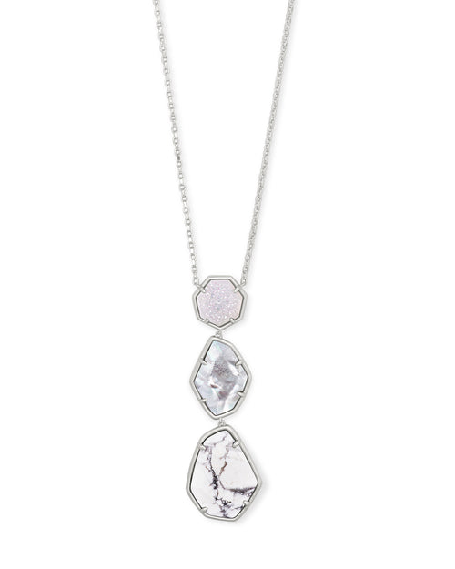 Nina Long Pendant Necklace in Rhodium White Mix