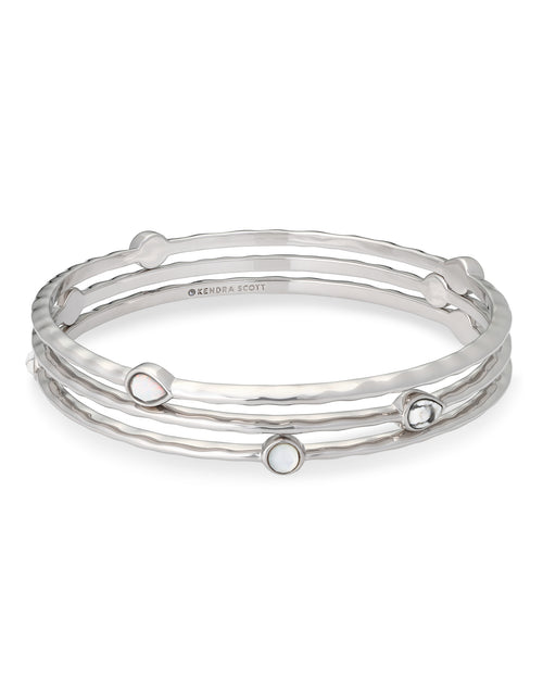 Nina Bangle Set in Rhodium White Mix
