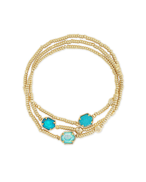 Tomon Bracelet Set in Gold Blue Mix