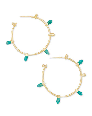 Freida Hoop Earring in Gold Dark Teal Amazonite