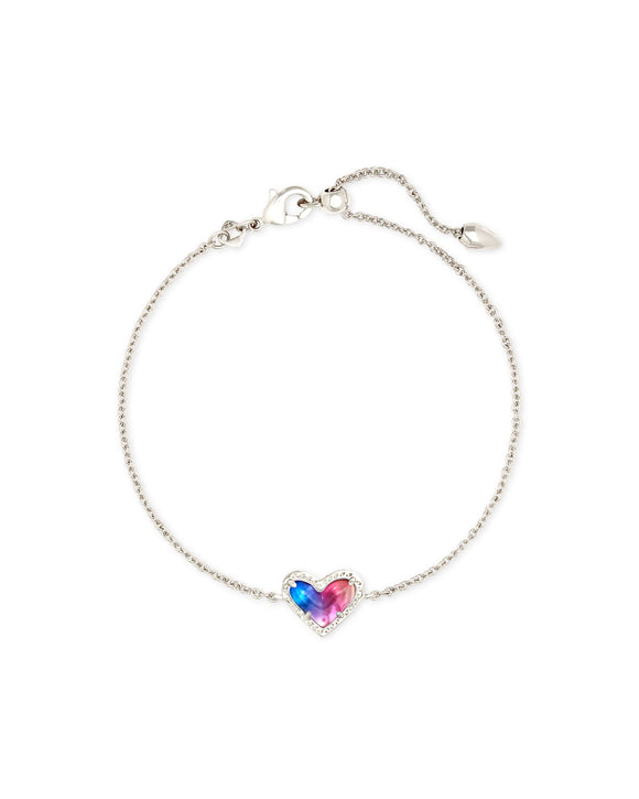 Ari Heart Bracelet in Rhodium Watercolor Illusion