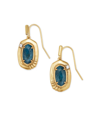 Anna Small Drop Earring in Vintage Gold Teal Apatite