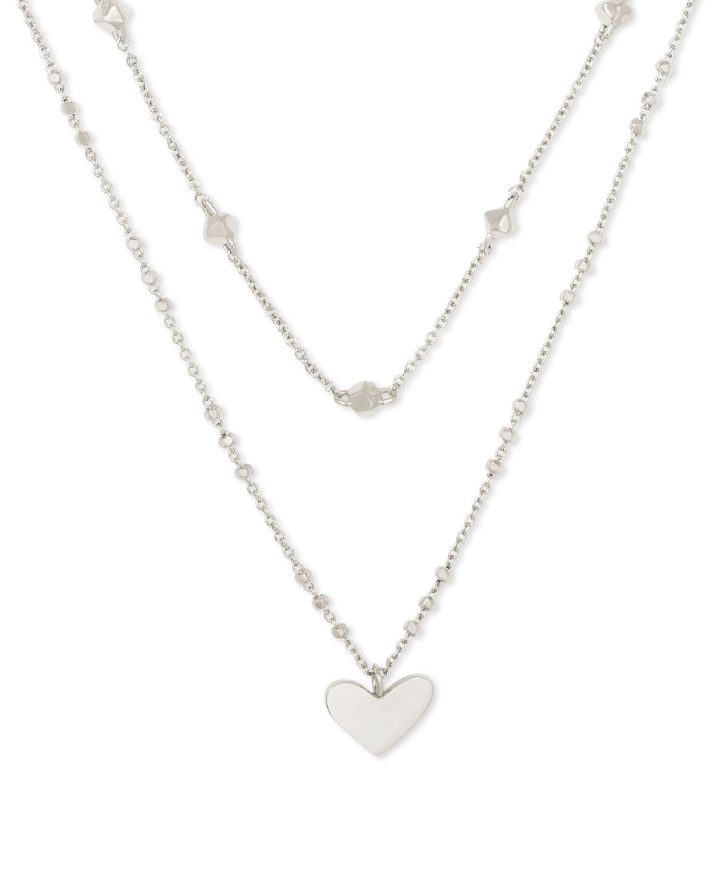 Ari Heart Multi Strand Necklace in Silver Metal