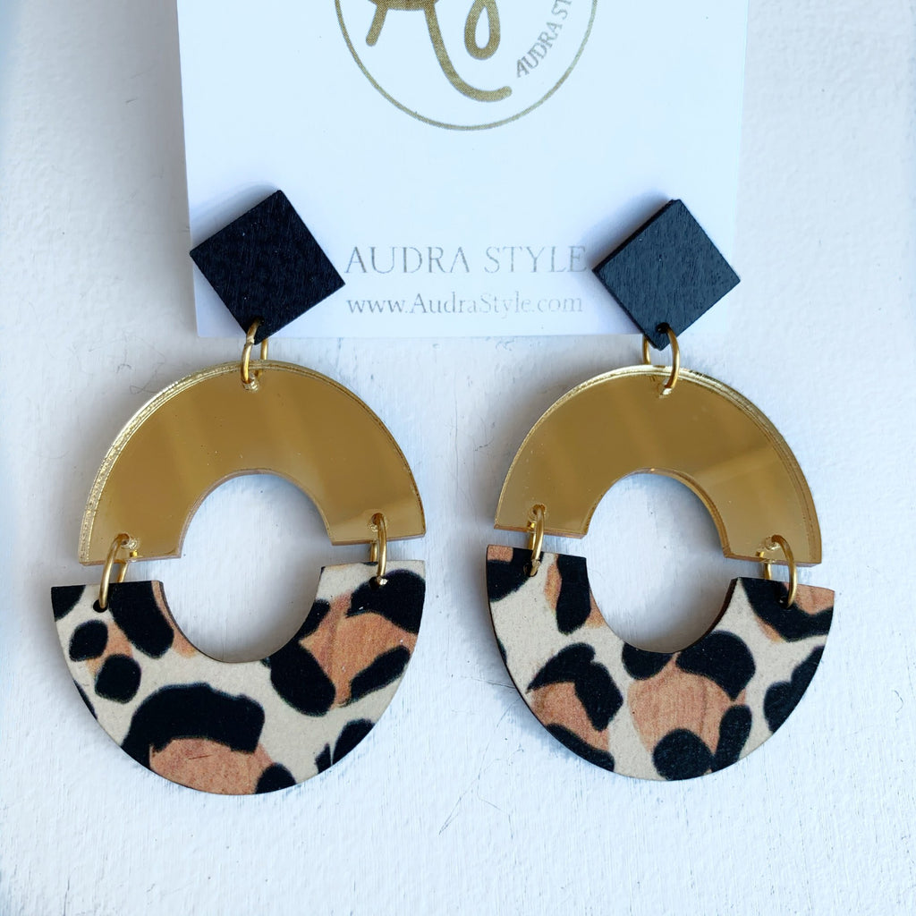 The Amanda Earrings in Gold Leopard