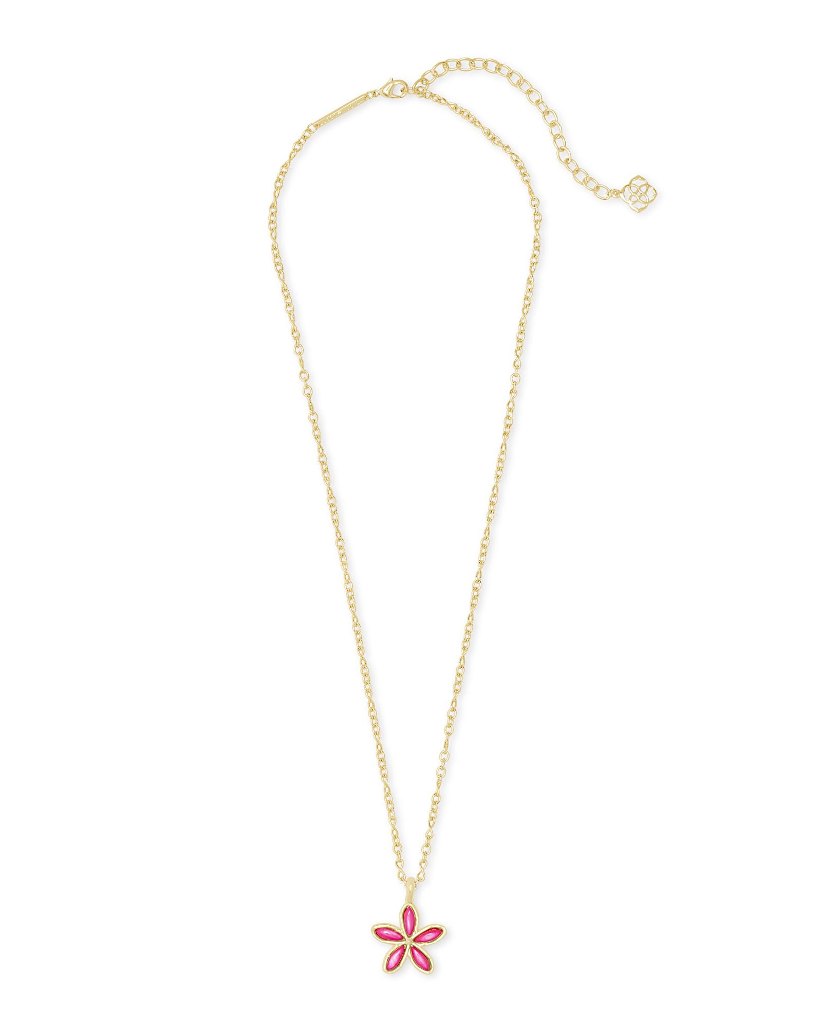 Kyla Flower Necklace in Gold Raspberry Mother of Pearl
