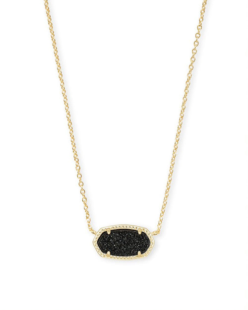 Gold Elisa Necklace in Black Drusy