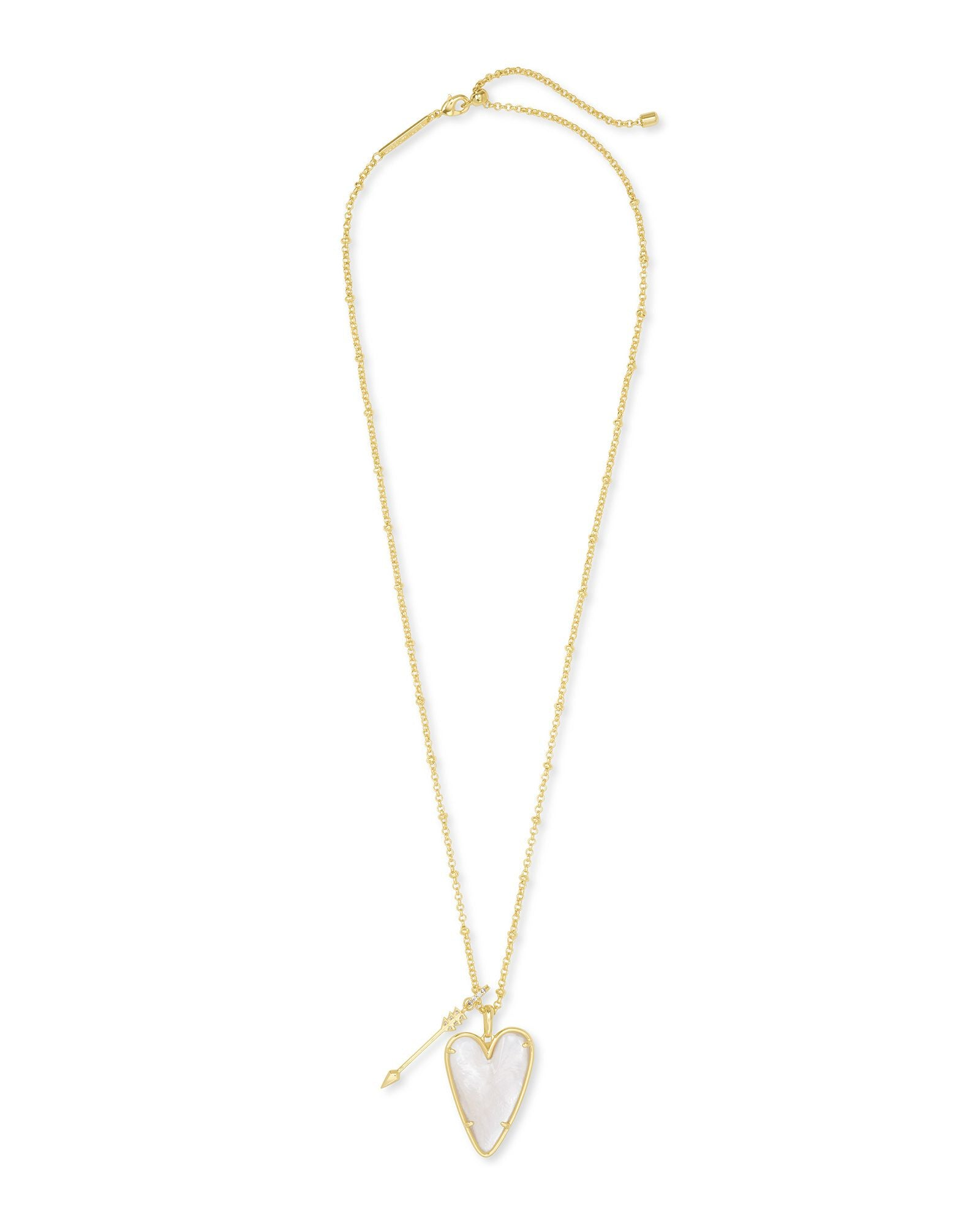 Ansley Long Pendant Necklace in Gold Ivory Mother of Pearl