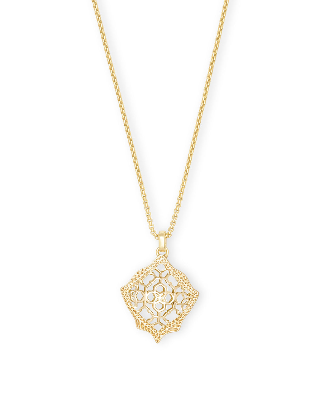 Kacey Long Pendant Necklace in Filigree