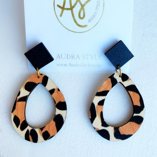 The Miranda Earrings in Black Leopard