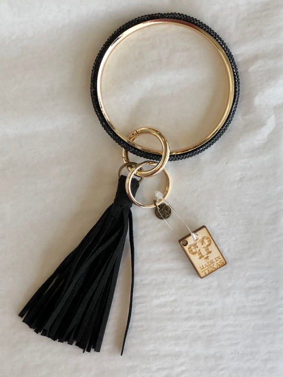 The Katy Key Ring in Black