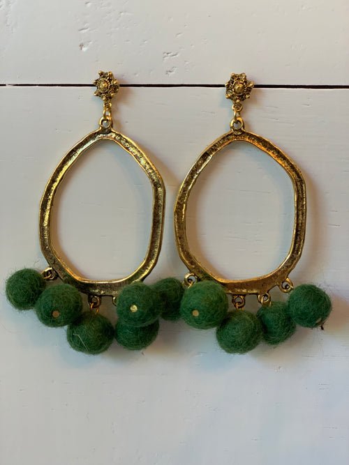 Pom Pom Earrings in Green