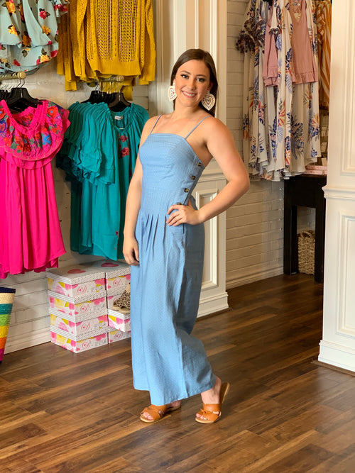 Chambray Polka Dot Jumpsuit