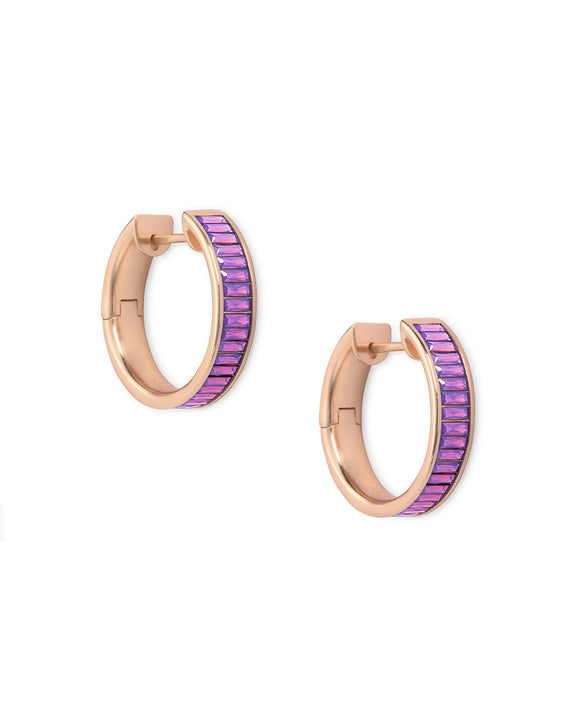 Jack Rose Gold Hoop Earrings In Raspberry Crystal