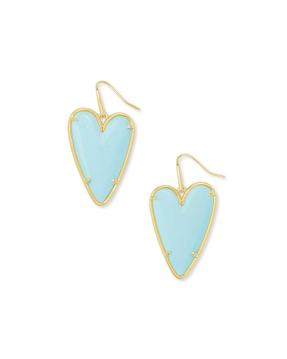 Ansley Drop Earring in Gold Light Blue Magnesite