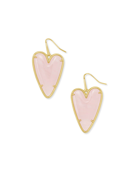 Ansley Drop Earring in Gold Rose Quartz