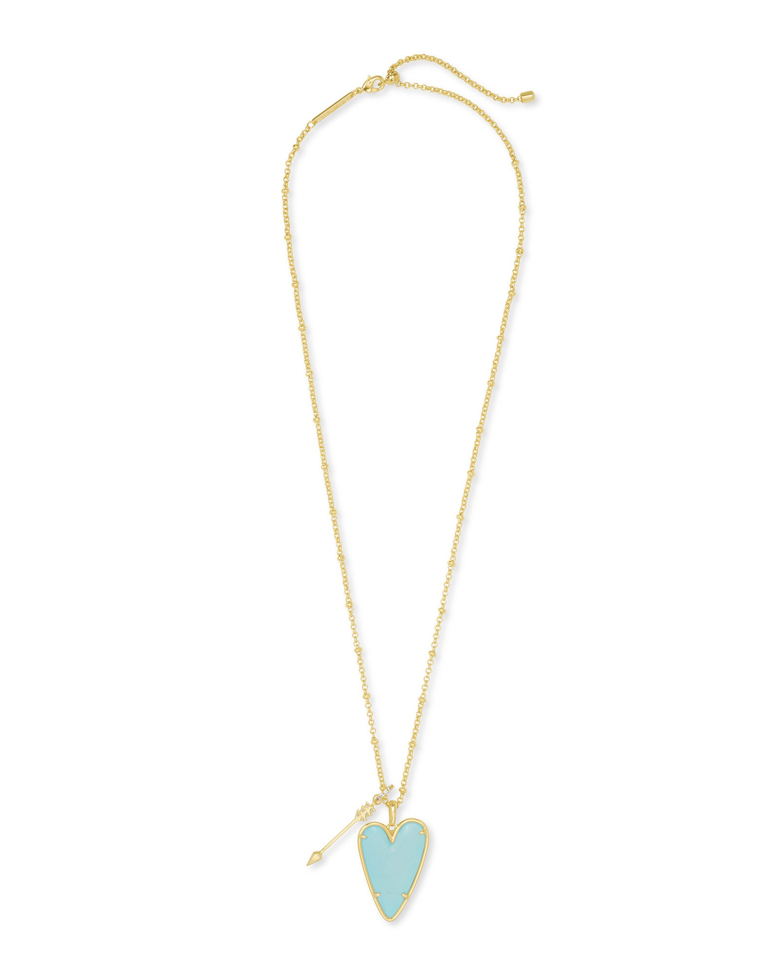 Ansley Long Pendant Necklace in Gold Light Blue Magnesite