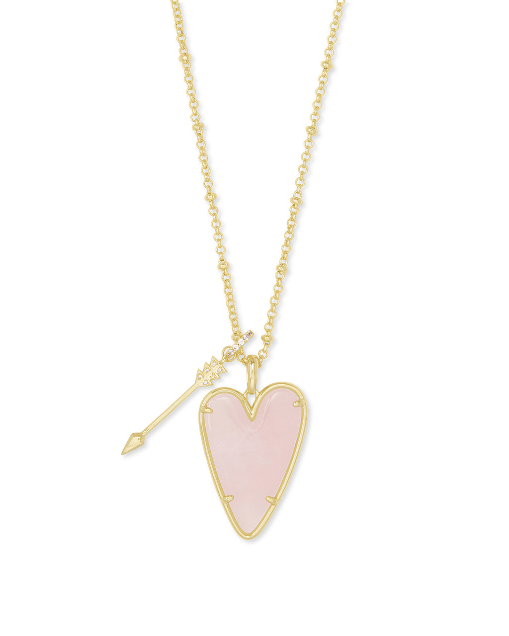 Ansley Long Pendant Necklace in Gold Rose Quartz