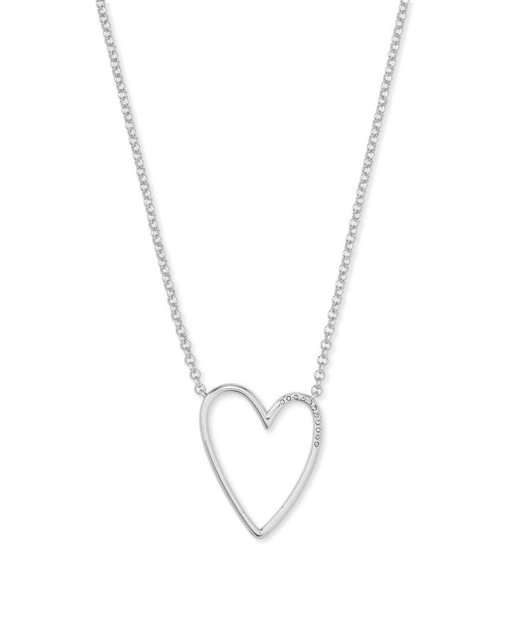 Ansley Pendant Necklace in Rhodium