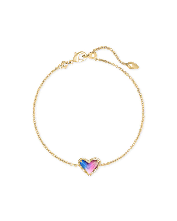 Ari Heart Gold Chain Bracelet In Watercolor Illusion