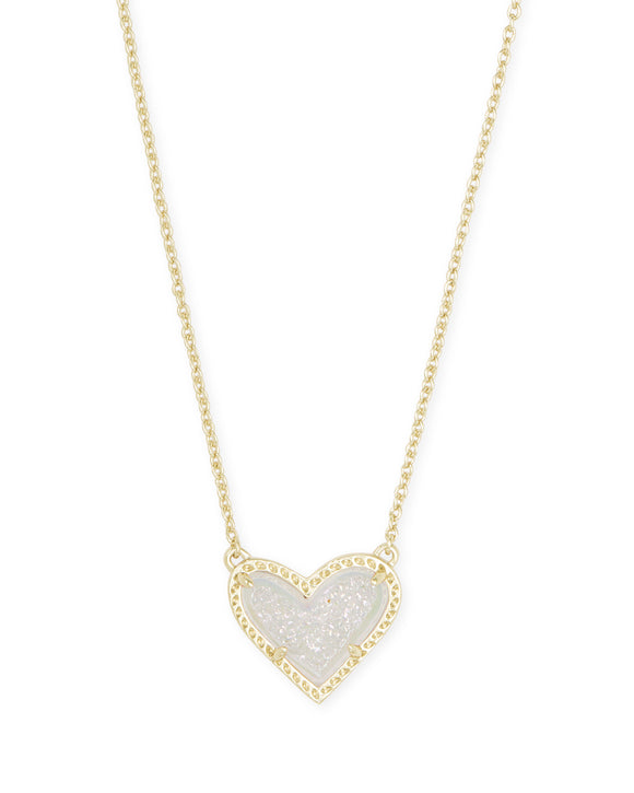 Ari Heart Gold Short Pendant in Iridescent Drusy
