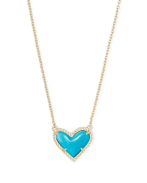 Ari Heart Gold Short Pendant in Turquoise