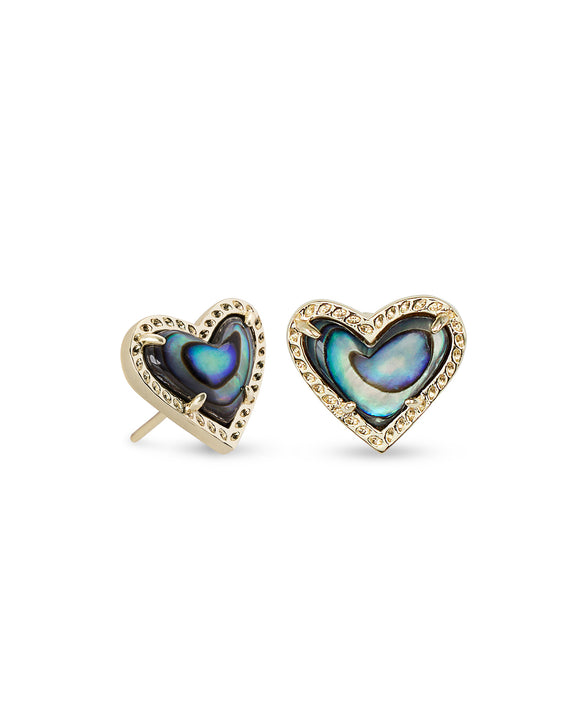 Ari Heart Gold Stud Earring in Abalone Shell