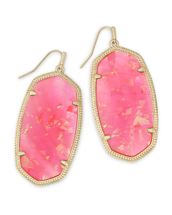Danielle Earring Gold Iridescent Coral Illusion