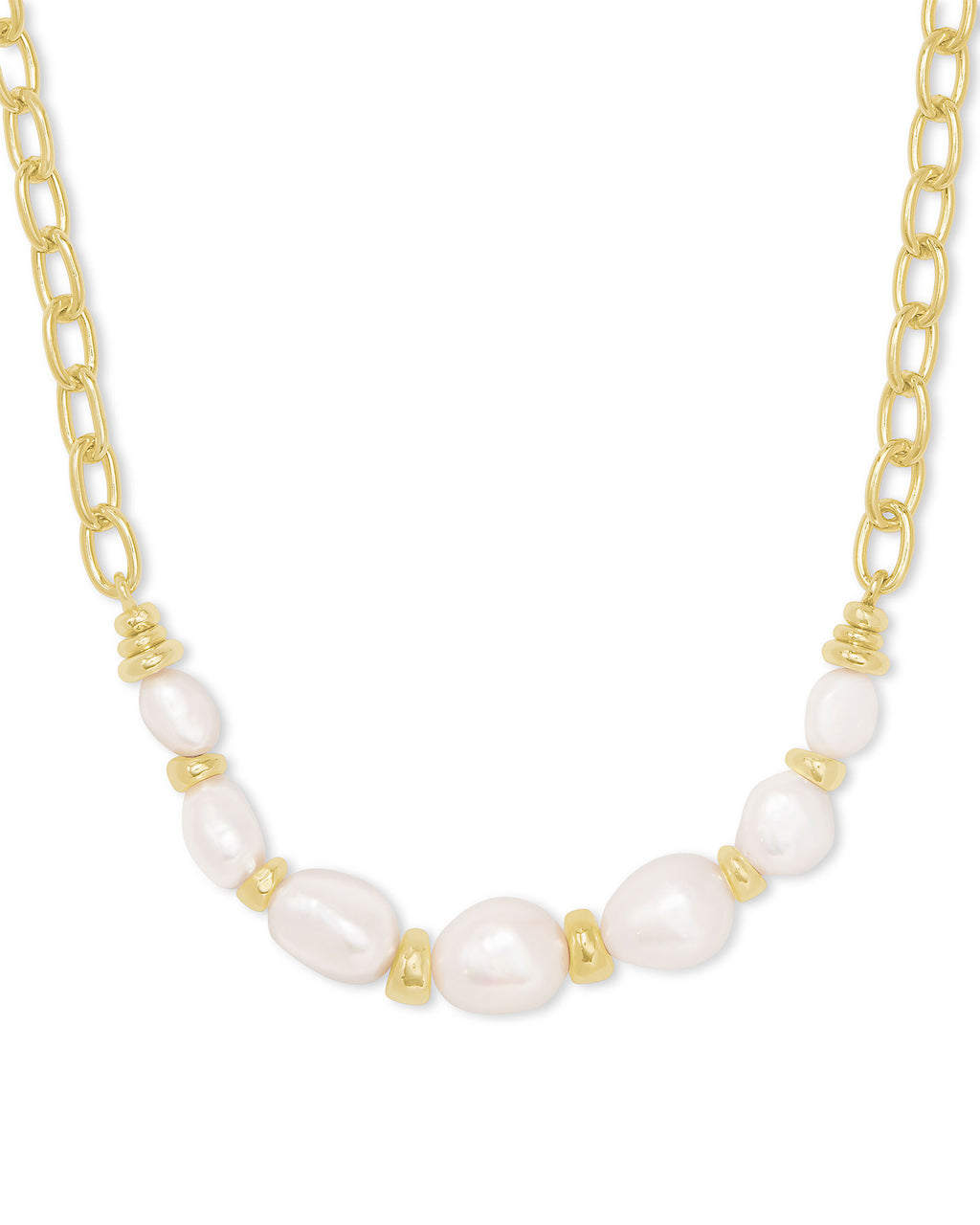 Demi Chain Necklace in Gold Baroque Pearl