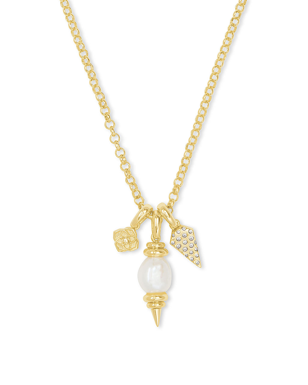 Demi Charm Necklace in Gold Baroque Pearl