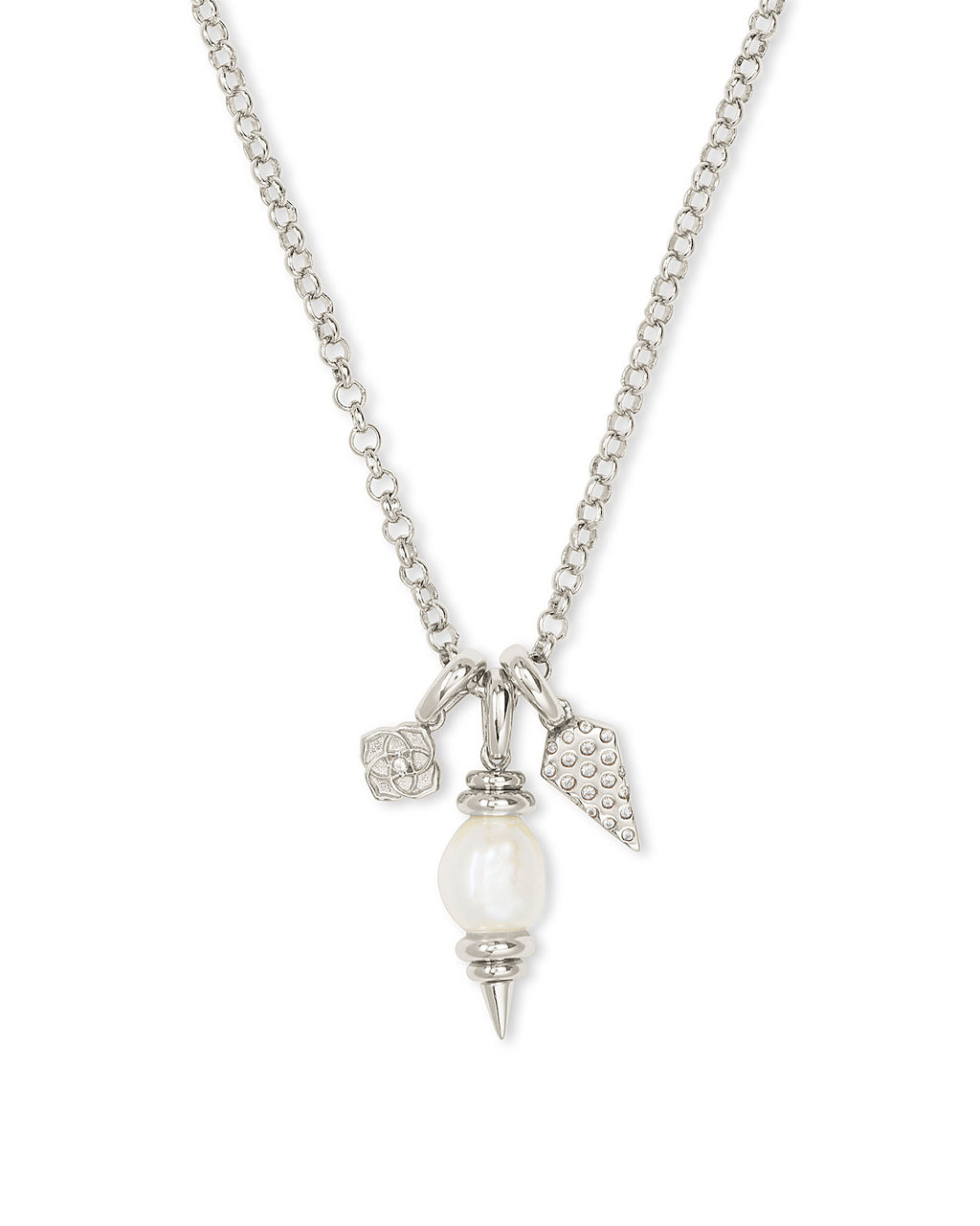 Demi Charm Necklace in Silver Baroque Pearl