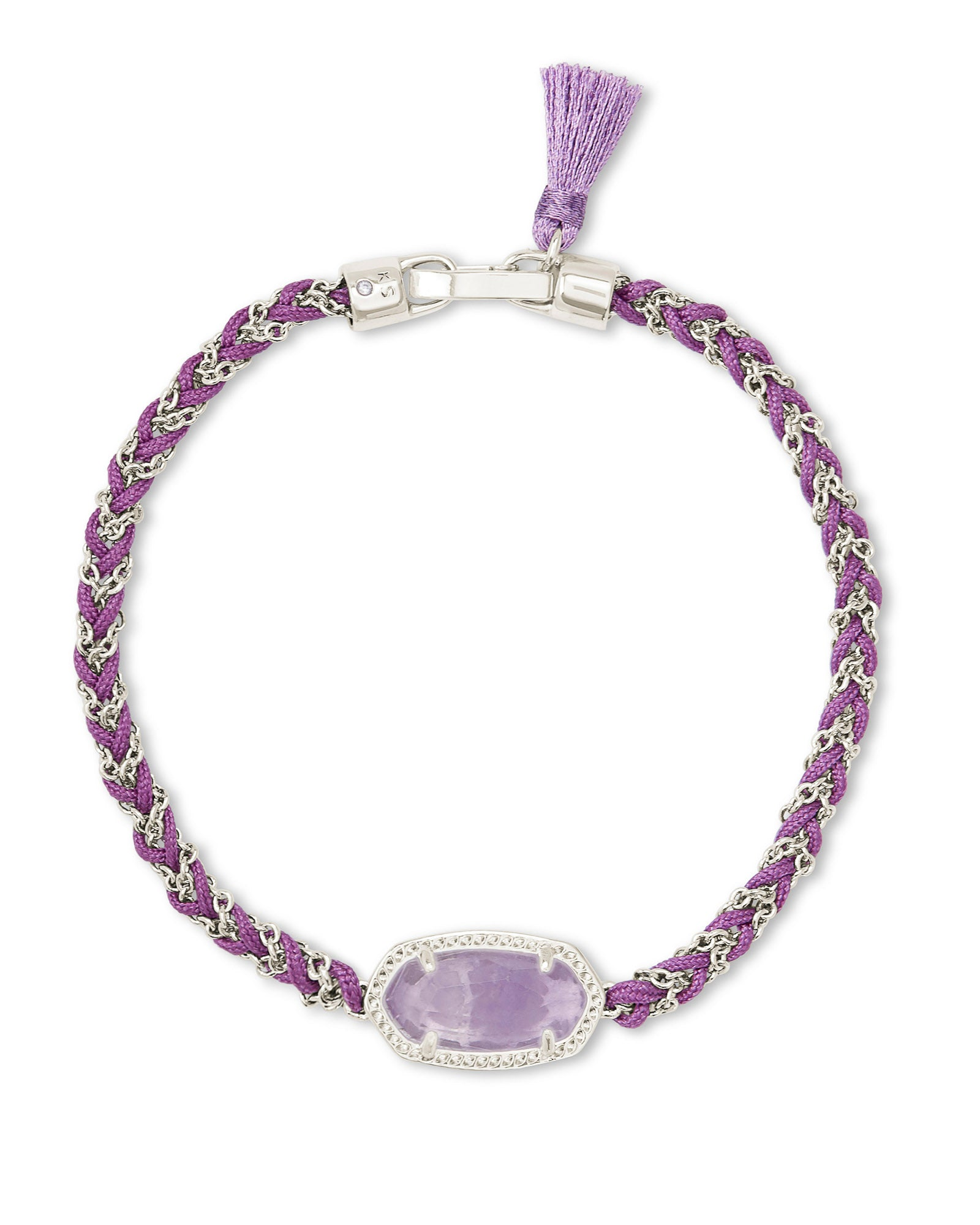 Elaina Braided Friendship Bracelet in Silver Purple Amethyst