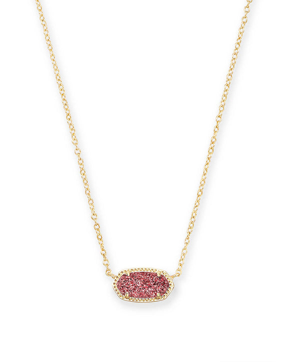 Gold Elisa Necklace in Raspberry Drusy