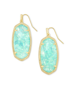Elle Drop Earring in Gold Iridescent Mint Illusion