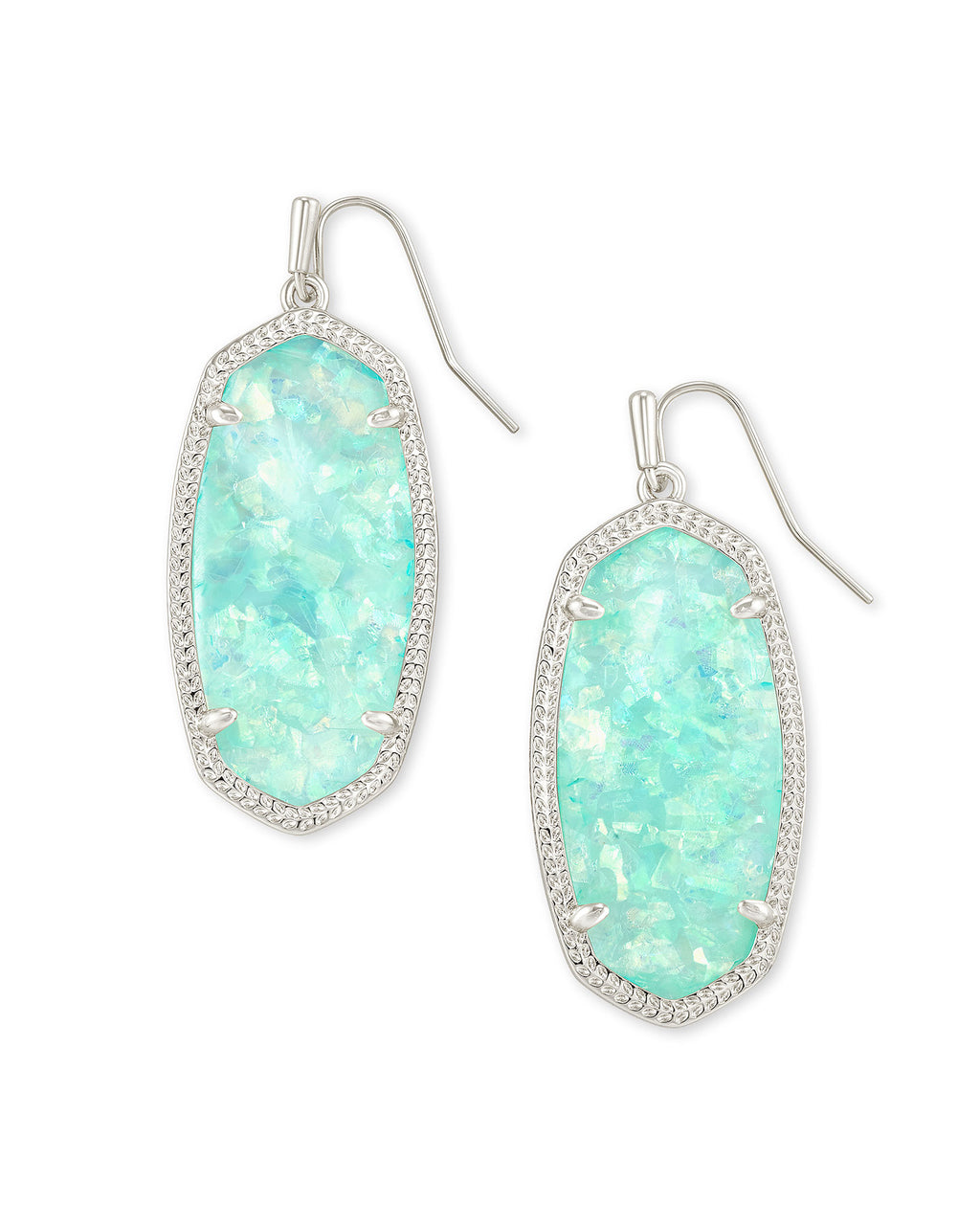 Elle Drop Earring in Silver Iridescent Mint Illusion