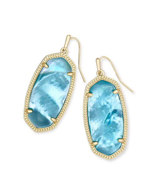 Elle Gold Earring in Aqua Illusion