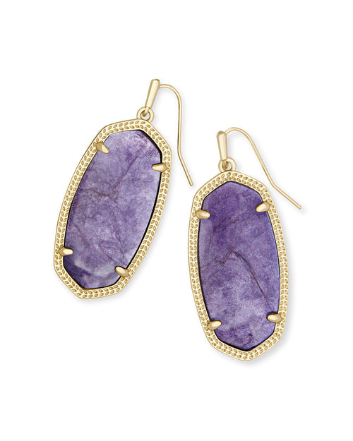 Elle Gold Earring in Purple Mica