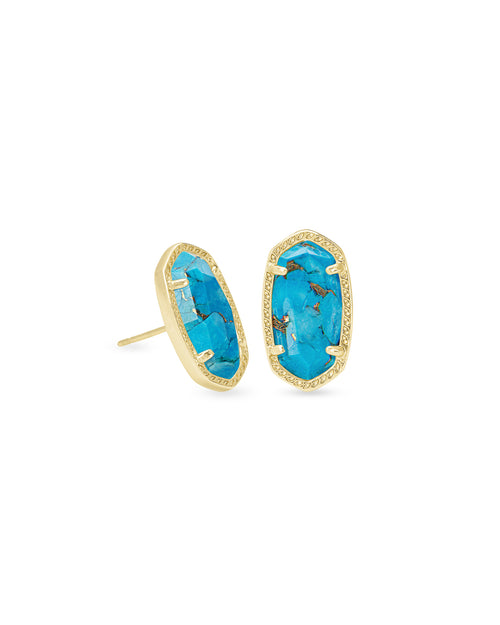 Ellie Earring in Gold Bronze Veined Turquoise