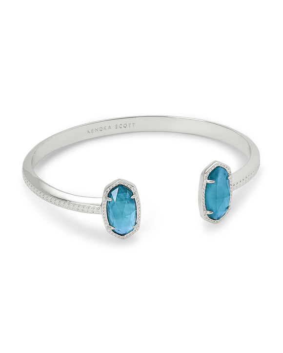 Elton Silver Cuff Bracelet In Peacock Blue Illusion