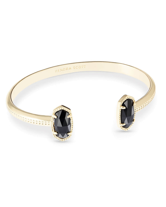 Elton Cuff Bracelet In Black Opaque Glass