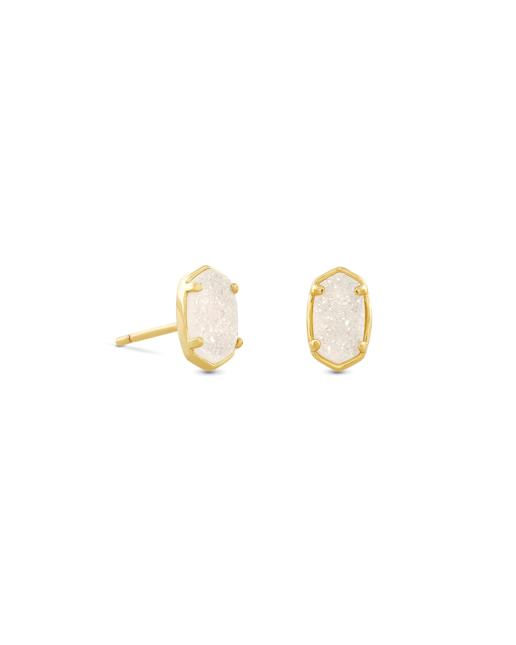 Emilie Stud Earring in Gold Iridescent Drusy